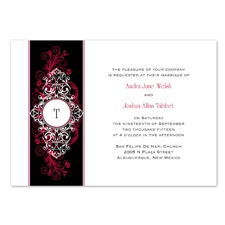 Layered Filigree Monogram Wedding Invitation - Merlot