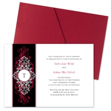 Layered Filigree Monogram Wedding Invitation with Pocket - Merlot