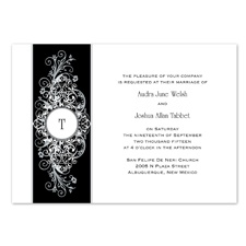 Layered Filigree Monogram Wedding Invitation - Stainless