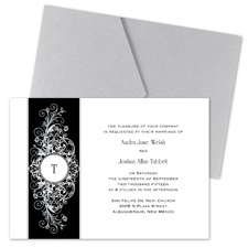 Layered Filigree Monogram Wedding Invitation with Pocket - Stainless