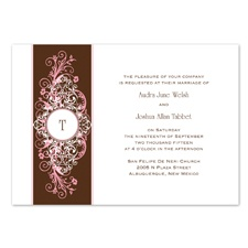 Layered Filigree Monogram Wedding Invitation - Salmon
