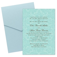 Damask Wedding Invitation with Pocket - Aqua