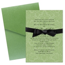 Damask Background Wedding Invitation with Pocket - Cloverleaf