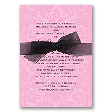 Damask Background Wedding Invitation - Fuchsia