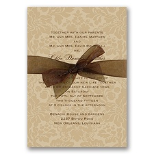 Damask Background Wedding Invitation - Champagne