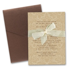 Damask Background Wedding Invitation with Pocket - Champagne