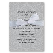 Damask Background Wedding Invitation - Pewter