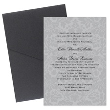Damask Wedding Invitation with Pocket - Pewter