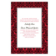 Damask Border Wedding Invitation - Black
