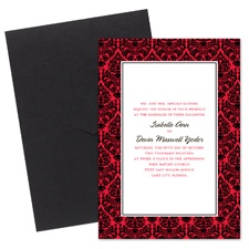 Damask Border Wedding Invitation with Pocket - Black