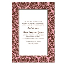 Damask Border Wedding Invitation - Espresso