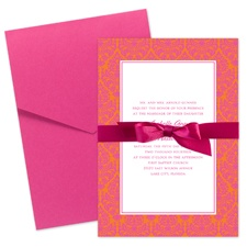 Damask Border Wedding Invitation with Pocket - Fuchsia
