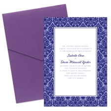 Damask Border Wedding Invitation with Pocket - Eggplant