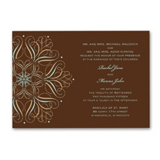 Mod Medallion Wedding Invitation - Espresso