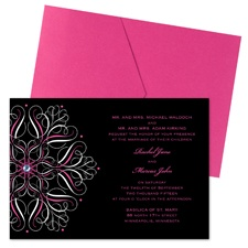 Mod Medallion Wedding Invitation with Pocket - Fuchsia