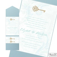 Key to My Heart Wedding Invitation with Pocket - Aqua