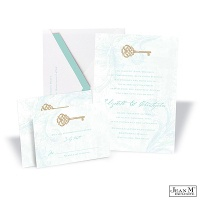Key to My Heart Wedding Invitation - Aqua