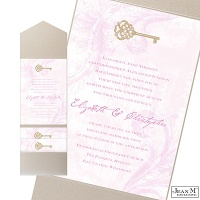Key to My Heart Wedding Invitation with Pocket - Bubble Gum