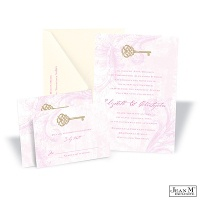 Key to My Heart Wedding Invitation - Bubble Gum