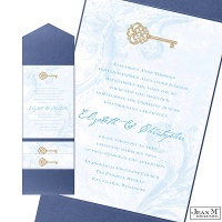Key to My Heart Wedding Invitation with Pocket - Cornflower