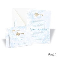 Key to My Heart Wedding Invitation - Cornflower