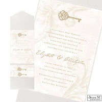 Key to My Heart Wedding Invitation with Pocket - Champagne