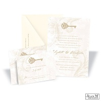 Key to My Heart Wedding Invitation - Champagne