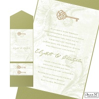 Key to My Heart Wedding Invitation with Pocket - Olive