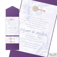 Key to My Heart Wedding Invitation with Pocket - Orchid