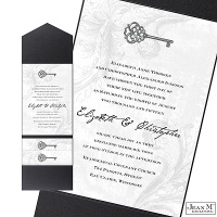 Key to My Heart Wedding Invitation with Pocket - Pewter
