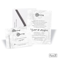 Key to My Heart Wedding Invitation - Pewter
