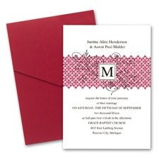 Blossoming Monogram Wedding Invitation with Pocket - Merlot
