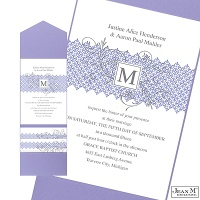 Blossoming Monogram Wedding Invitation with Pocket - Orchid