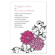 Retro Posies Wedding Invitation - Amethyst