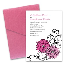 Retro Posies Wedding Invitation with Pocket - Bubble Gum