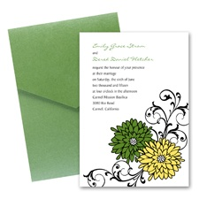 Retro Posies Wedding Invitation with Pocket -  Cloverleaf