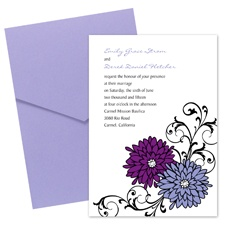 Retro Posies Wedding Invitation with Pocket -  Grapevine