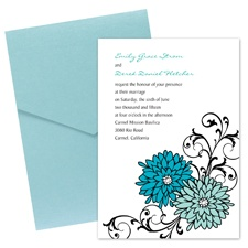 Retro Posies Wedding Invitation with Pocket-  Palm
