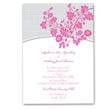 Garden Trellis Wedding Invitation - Fuchsia