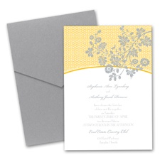 Garden Trellis Wedding Invitation with Pocket  - Marigold