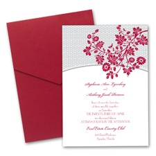 Garden Trellis Wedding Invitation with Pocket - Merlot