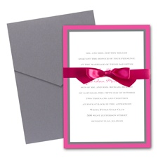 Bold Double Border Wedding Invitation with Pocket - Fuchsia