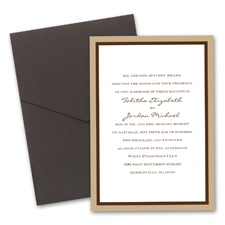 Bold Double Border Wedding Invitation with Pocket  - Champagne