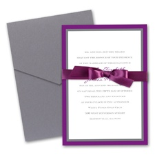 Bold Double Border Wedding Invitation with Pocket - Grapevine