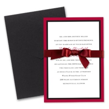 Bold Double Border Wedding Invitation with Pocket- Merlot