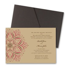 Mod Medallion Wedding Invitation with Pocket - Merlot
