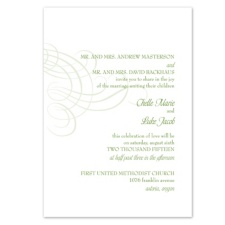 Swirling Filigree Wedding Invitation - Cloverleaf