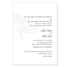 Swirling Filigree Wedding Invitation - Black