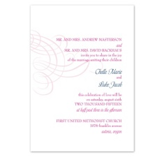 Swirling Filigree Wedding Invitation - Raspberry