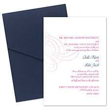 Swirling Filigree Wedding Invitation with Pocket - Raspberry